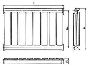 Ширина секции алюминиевого радиатора